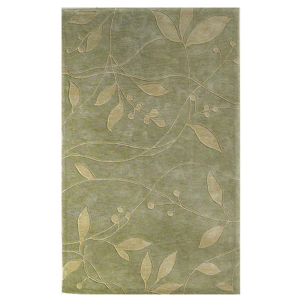 Simple Leaf Celadon 8 ft. x 10 ft. Area Rug