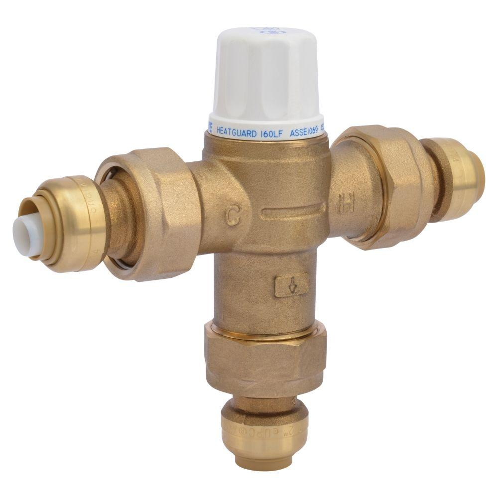 Thermostatic Mixing Valve: SharkBite 1/2 In. Brass Heat Guard 160 Thermostatic Mixing