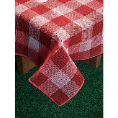 Bistro Check 60 in. x 84 in. Red Vinyl and Poly Tablecloth