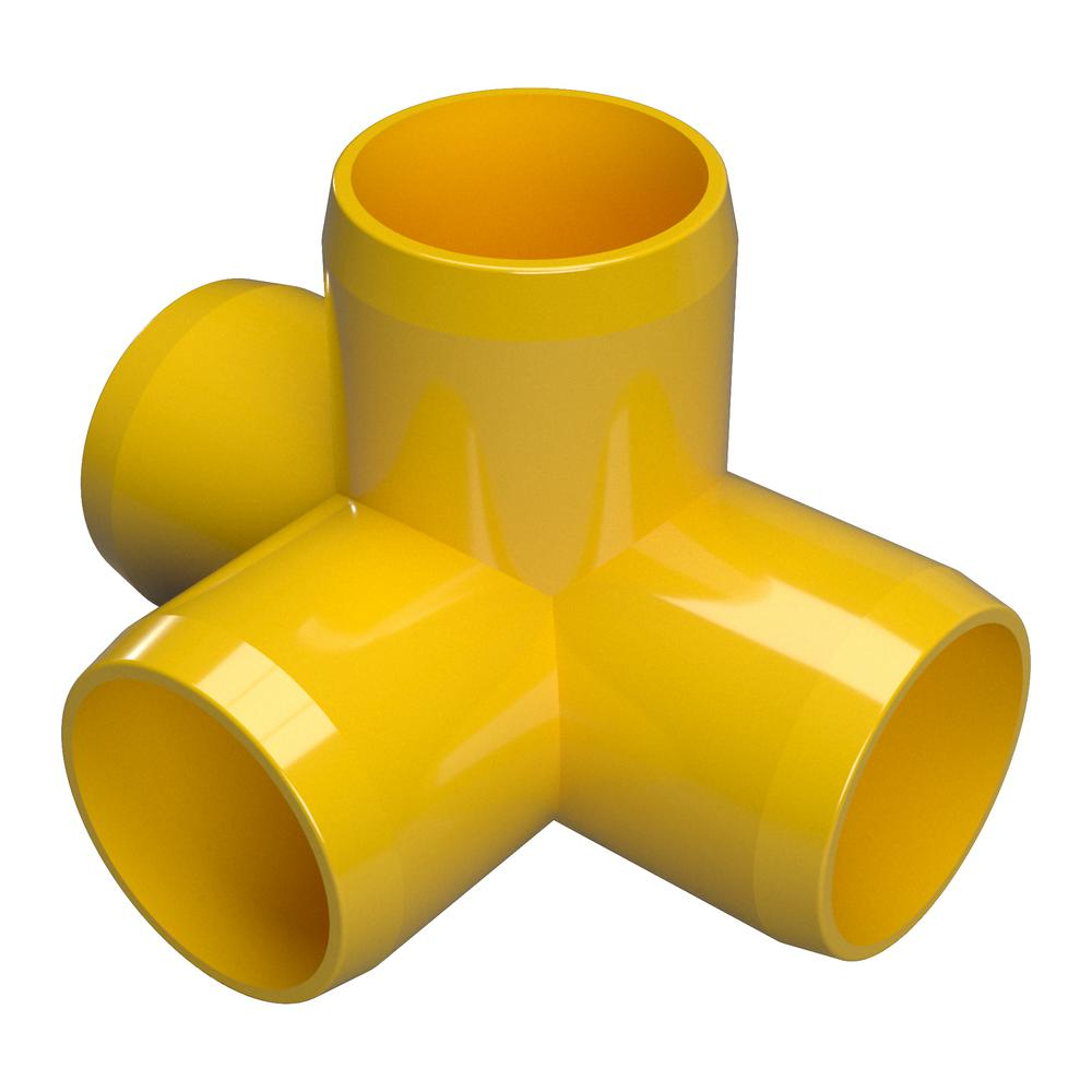 Formufit 1/2 in. Furniture Grade PVC 4-Way Tee in Yellow (10-Pack)
