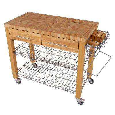 Chef Series Natural Kitchen Work Station with Chop and Drop with Wire Basket Shelves