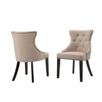 Julia Cream Linen Upholstered Tufted Back Nail Head Chair (Set Of 2)