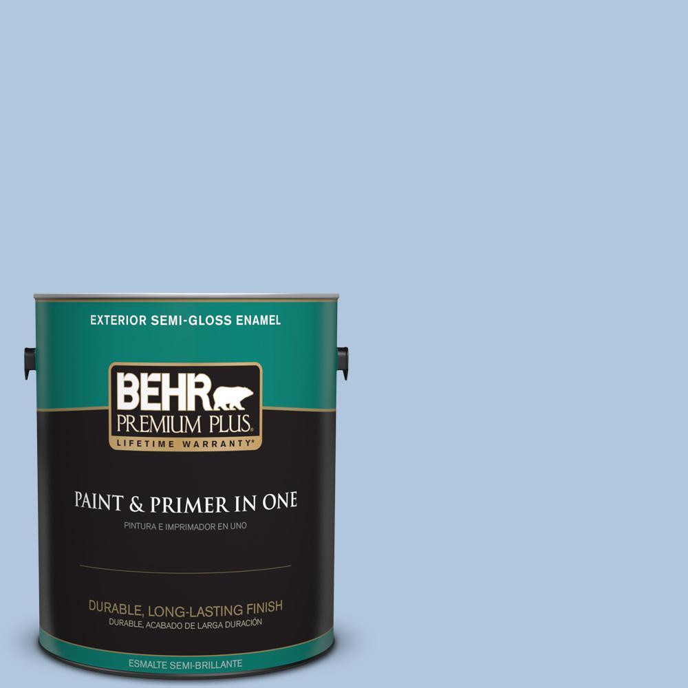 1 gal. #PPU14-13 Caspian Tide Semi-Gloss Enamel Exterior Paint