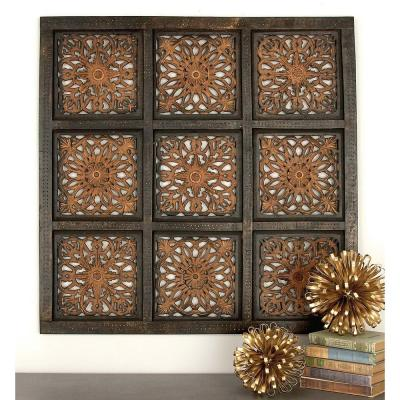 36 in. 36 in. Traditional Decorative Wood Wall Panel in Stained Brown