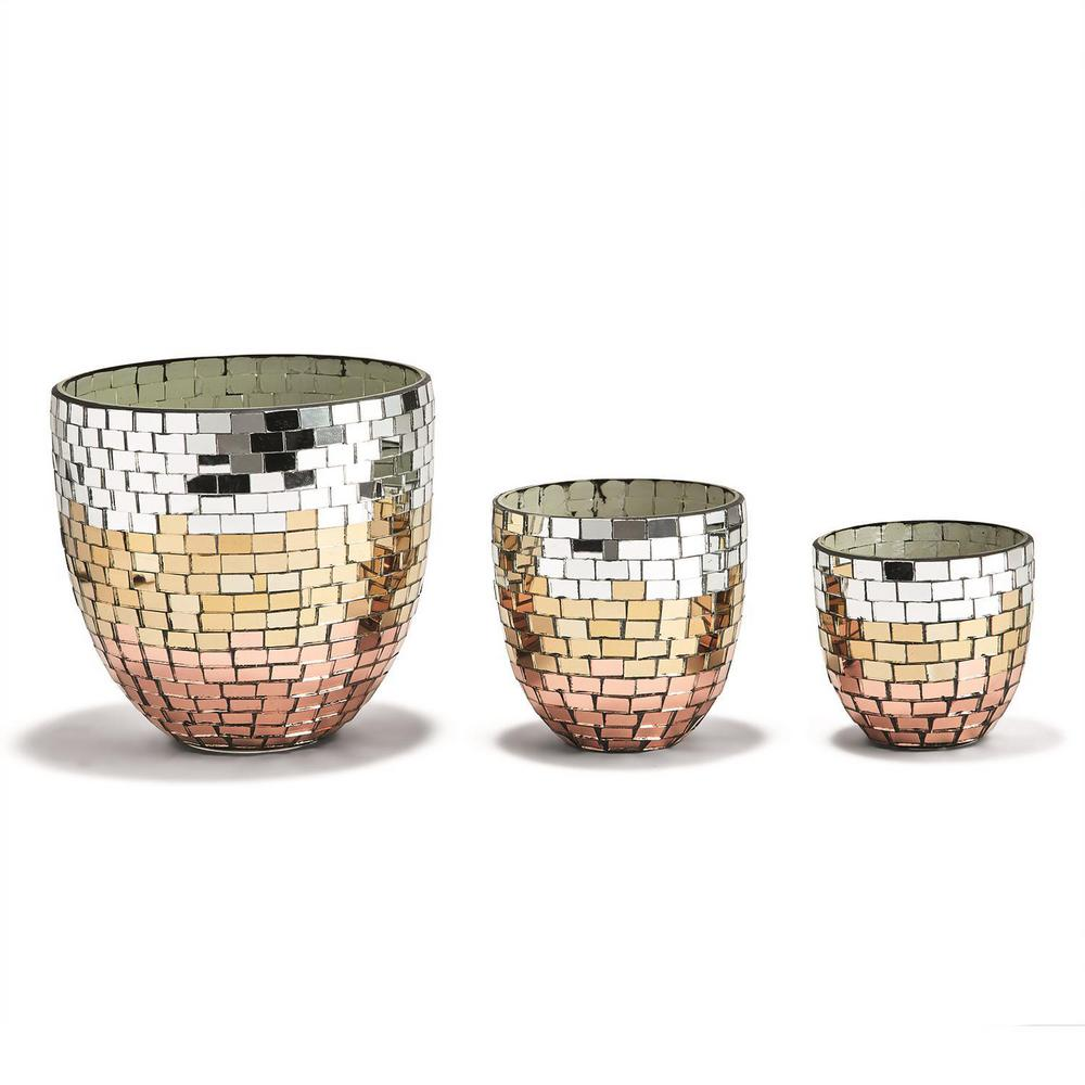 Tri-Colored Glass Mosaic Conical Candleholders  (Set of 3)