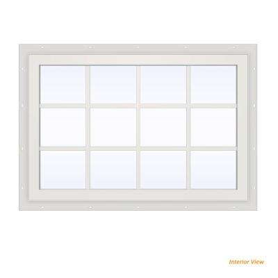 47.5 in. x 35.5 in. V-2500 Series White Vinyl Fixed Picture Window with Colonial Grids/Grilles