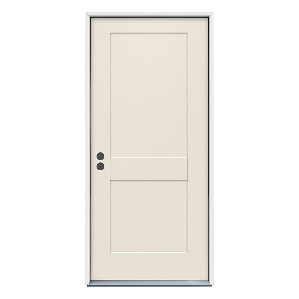 Jeld Wen 32 In X 80 In 2 Panel Craftsman Primed Steel Prehung Right Hand Inswing Front Door Thdjw166100365 The Home Depot