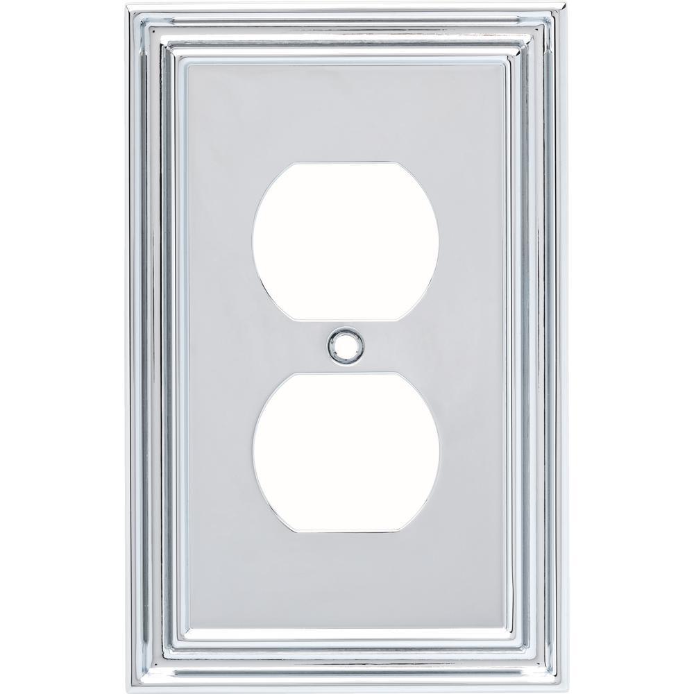 Liberty Silverton Decorative Single Duplex Outlet Cover, Polished Chrome