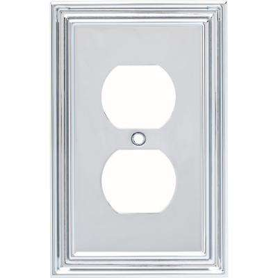 Silverton 1-Gang Outlet Decorative Wall Plate, Polished Chrome