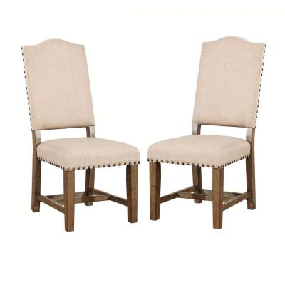 Fabric Upholstered Beige and Brown Solid Wood Side Chair (Pack of 2)