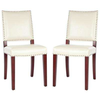 James Flat Cream/Cherry Mahogany Bicast Leather Side Chair (Set of 2)