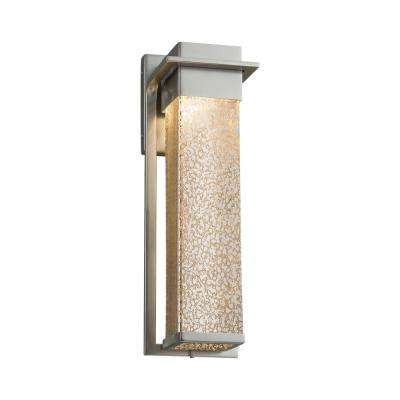 Fusion Pacific Brushed Nickel LED Outdoor Wall Lantern Sconce with Mercury Glass Shade
