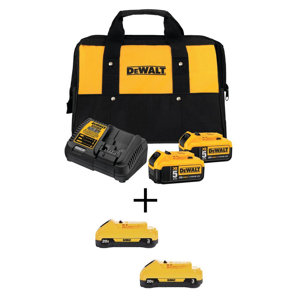 20-Volt MAX XR Starter Kit w/ Battery Pack 5.0 Ah (2-Pack), Charger & Kit Bag w/ Bonus Battery 3.0 Ah (2-Pack)