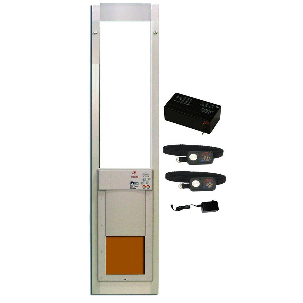 High Tech Pet 8 in. x 10 in. PowerPet Electronic Sliding Glass Pet Door DeluxPak with Free Additional Collar and Rechargeable Battery