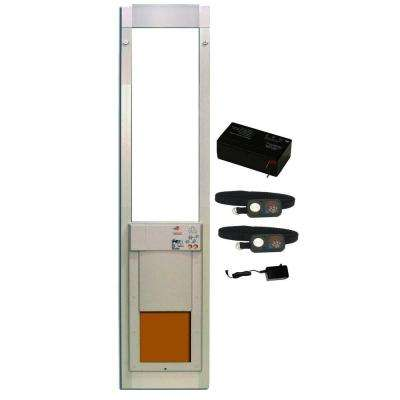 8 in. x 10 in. PowerPet Electronic Sliding Glass Pet Door DeluxPak with Free Additional Collar and Rechargeable Battery