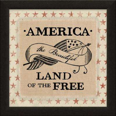 """Vintage Patriotic Collection """"American Land of the Free"""" By Carpentree Framed Natural Canvas"""