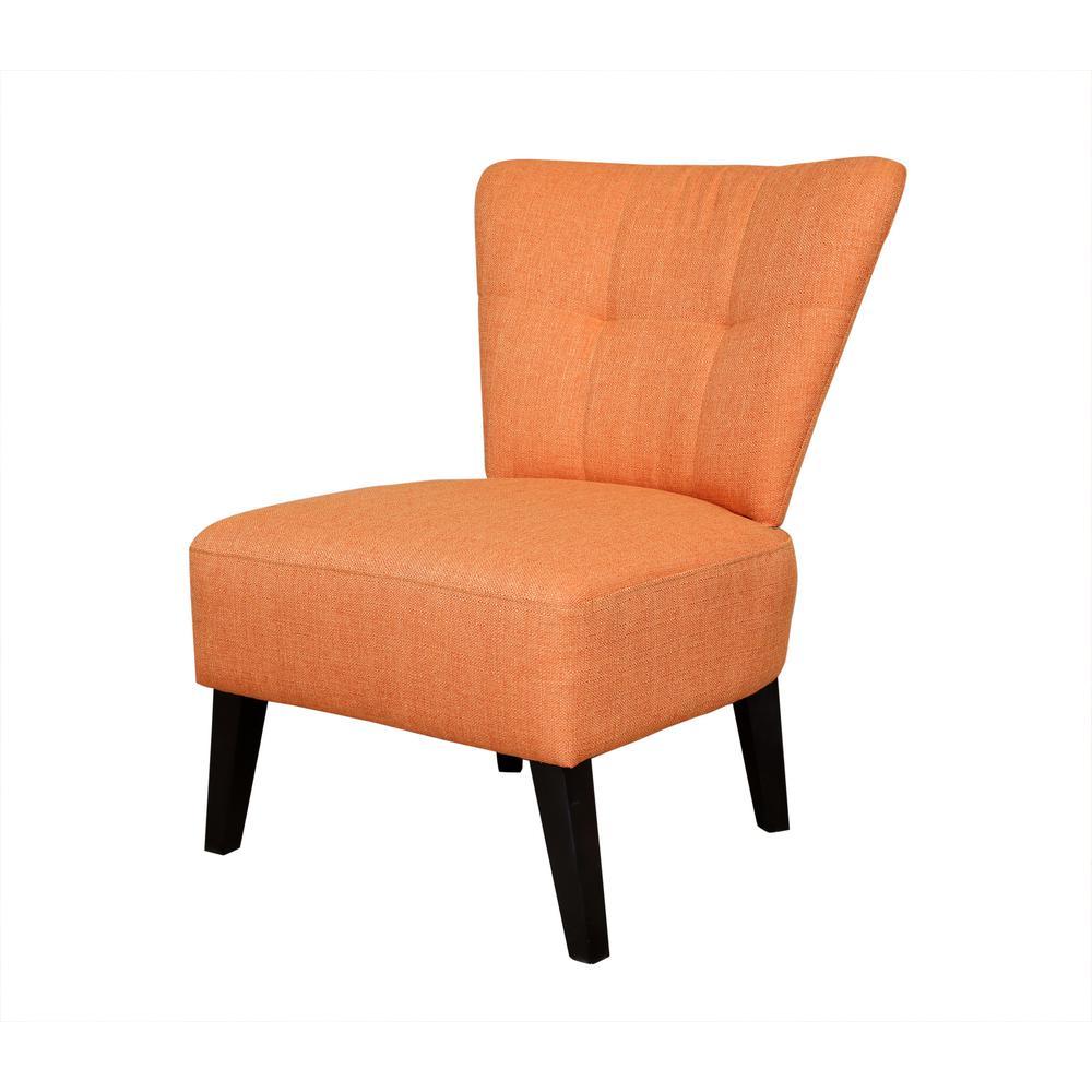 Maddie Orange Contemporary Barrel-Back Accent Chair