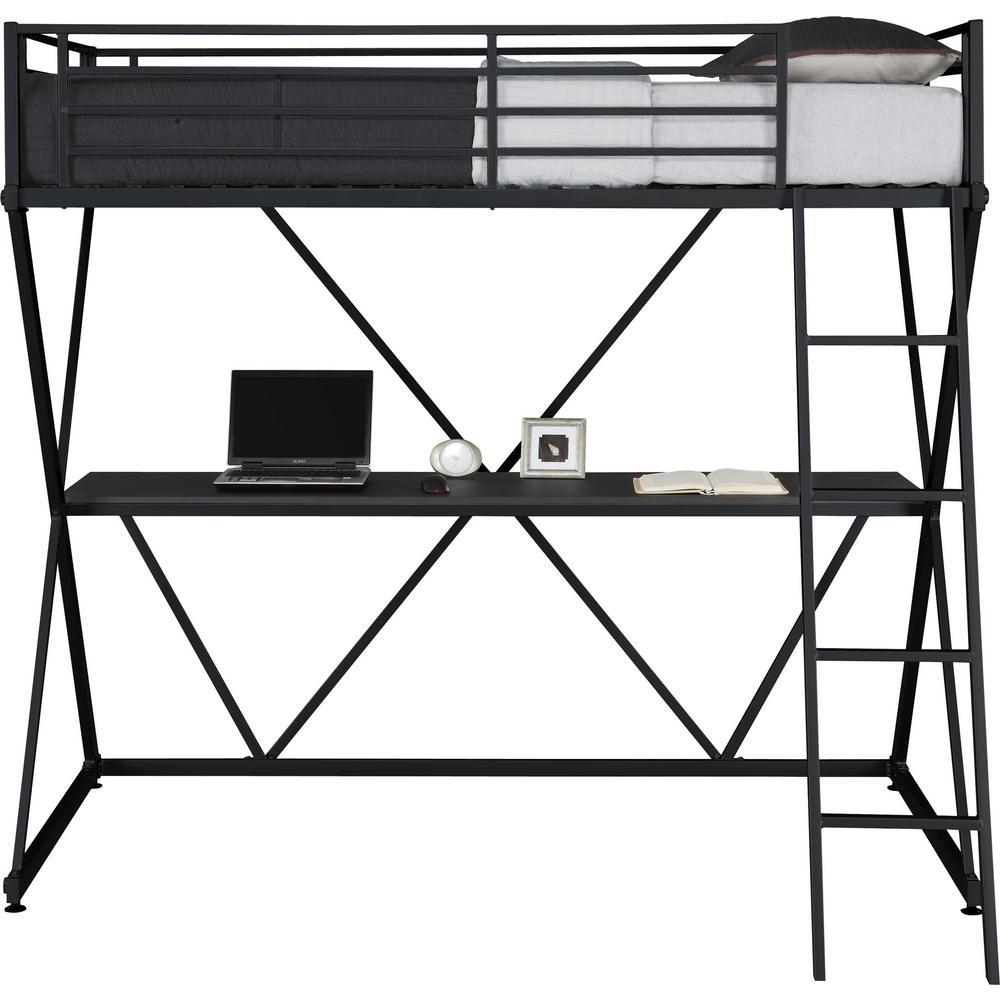 Dhp Cora Black Twin Loft Bed With Desk De00502 The Home Depot