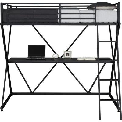 Cora Black Twin Loft Bed with Desk