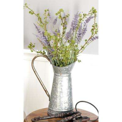 10 in. x 12 in. Gray and Rust Brown Hammered Tin Watering Jug