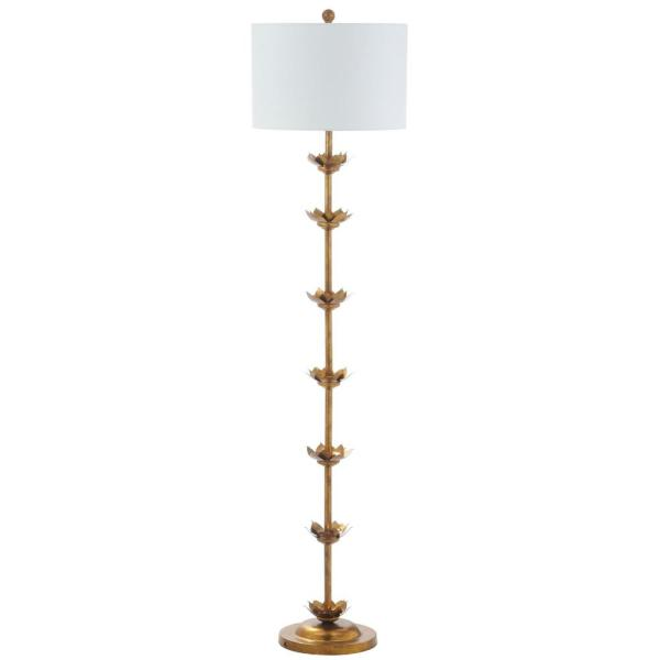 Landen Leaf 63.5 in. Antique Gold Floor Lamp with Off-White Shade