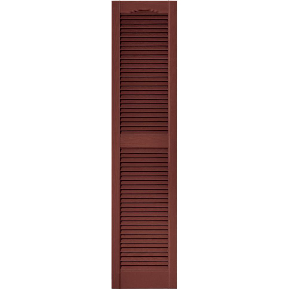 Builders Edge 15 in. x 64 in. Louvered Vinyl Exterior Shutters Pair in #027 Burgundy Red