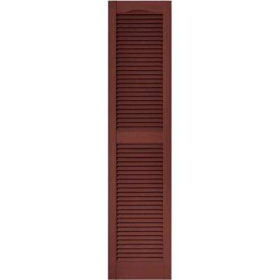 15 in. x 64 in. Louvered Vinyl Exterior Shutters Pair in #027 Burgundy Red