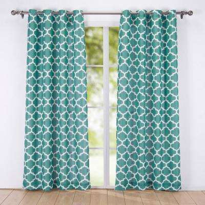 84 in. Decorative Window Geometric Semi-Sheer Grommet Curtain Panel in Green