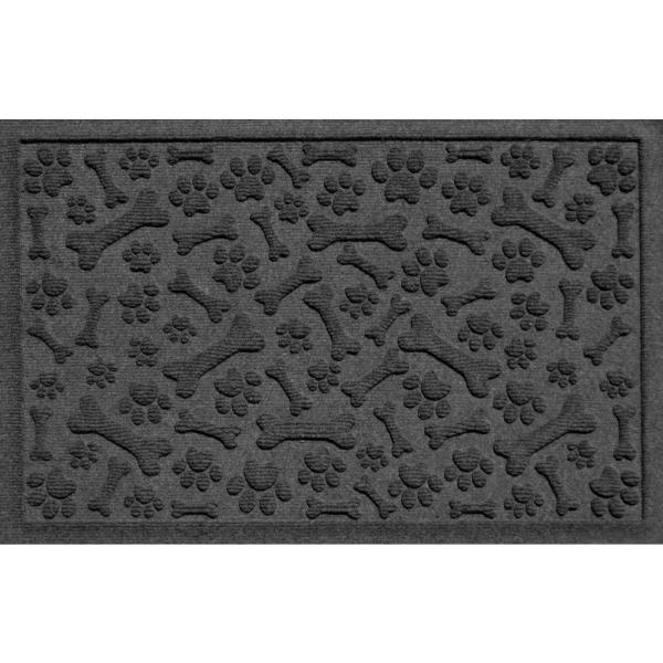 Paws and Bones Charcoal 18 in. x 27 in. PET Polyester Pet Mat