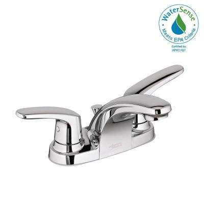 Colony Pro 4 in. Centerset 2-Handle Low-Arc Bathroom Faucet with Metal Drain in Polished Chrome