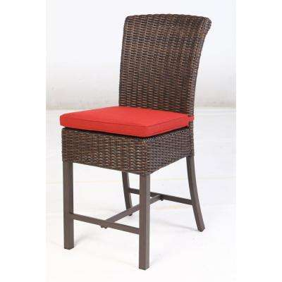 Harper Creek Metal Balcony Height Outdoor Bar Stool with Chili Cushion (4-Pack)