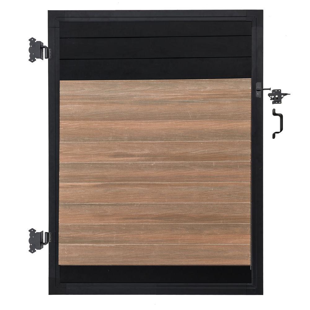 Euro Style 4 ft. W x 6 ft. H Black Top King Cedar Aluminum/Composite Adjustable Fence Gate