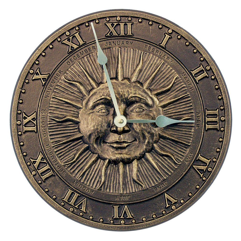 Whitehall Products 13 in. French Bronze Sunface Clock