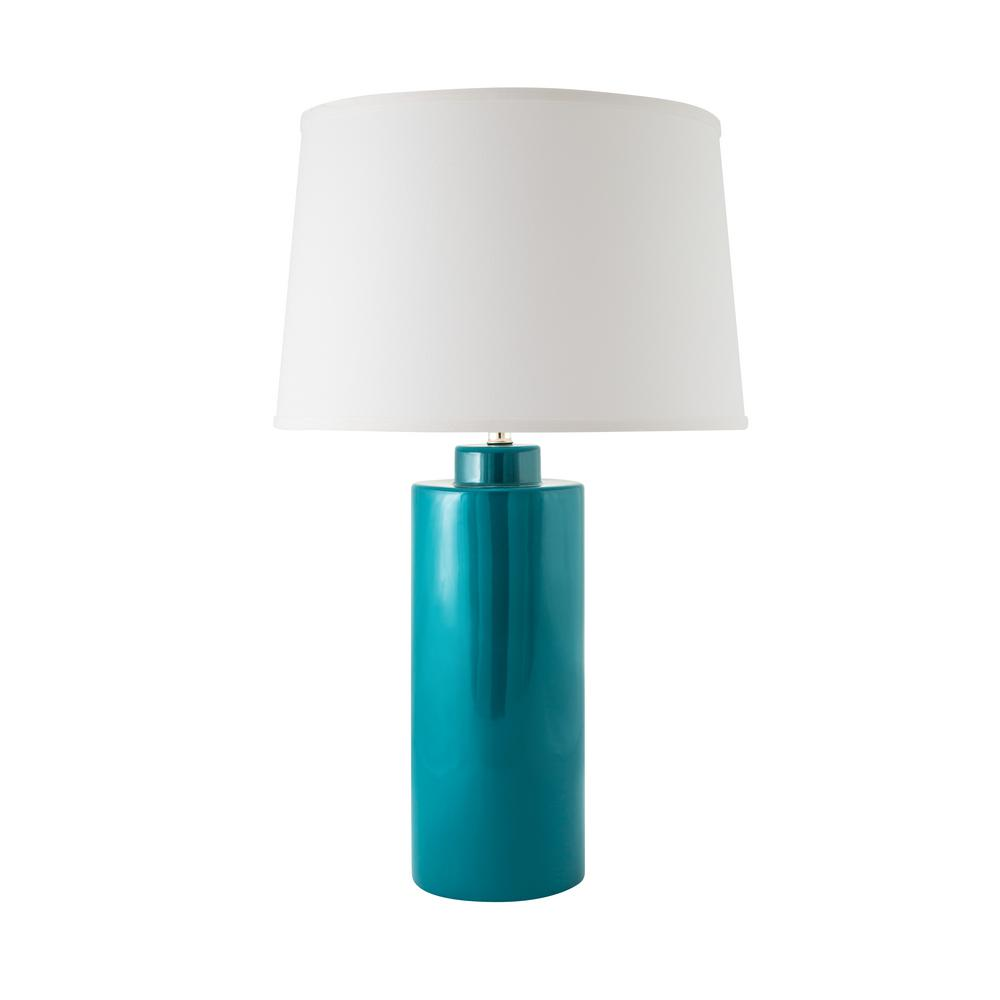 Cylinder 28 in. Gloss Ocean Indoor Table Lamp