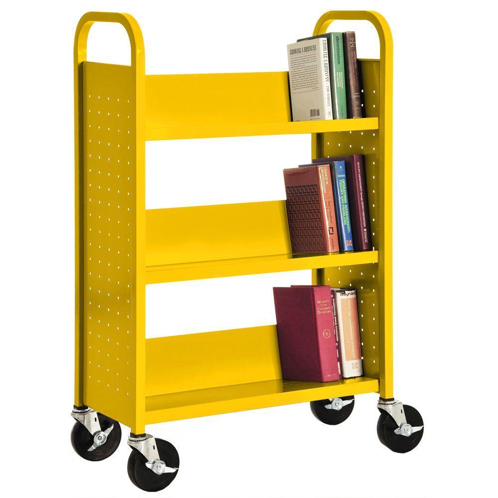 Sandusky 32 in. W x 14 in. D x 46 in. H Single Sided 3-Sloped Shelf Booktruck in Sunshine