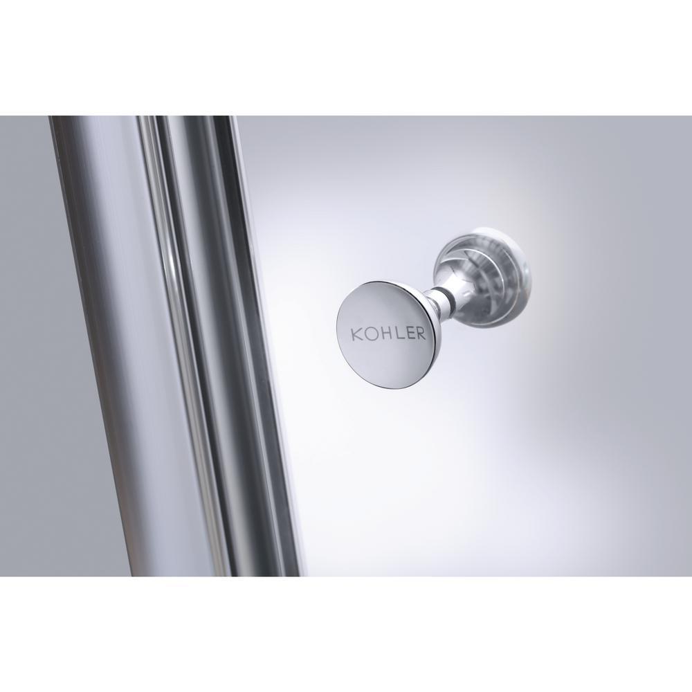 KOHLER Fluence 47-5/8 in. x 70-5/16 in. Heavy Semi-Frameless Sliding Shower Door in Brushed Nickel with Handle