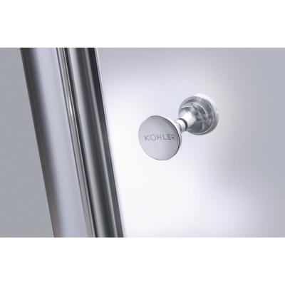 Fluence 47-5/8 in. x 70-5/16 in. Heavy Semi-Frameless Sliding Shower Door in Brushed Nickel with Handle