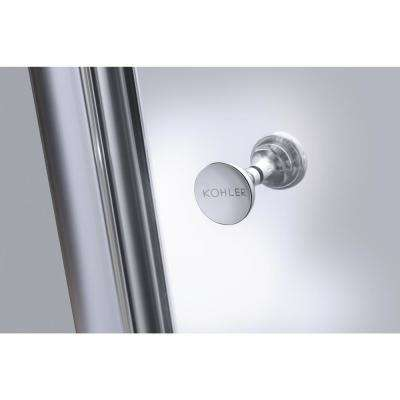 Fluence 37-3/4 in. x 65-1/2 in. Semi-Frameless Pivot Shower Door in Bright Silver with Handle