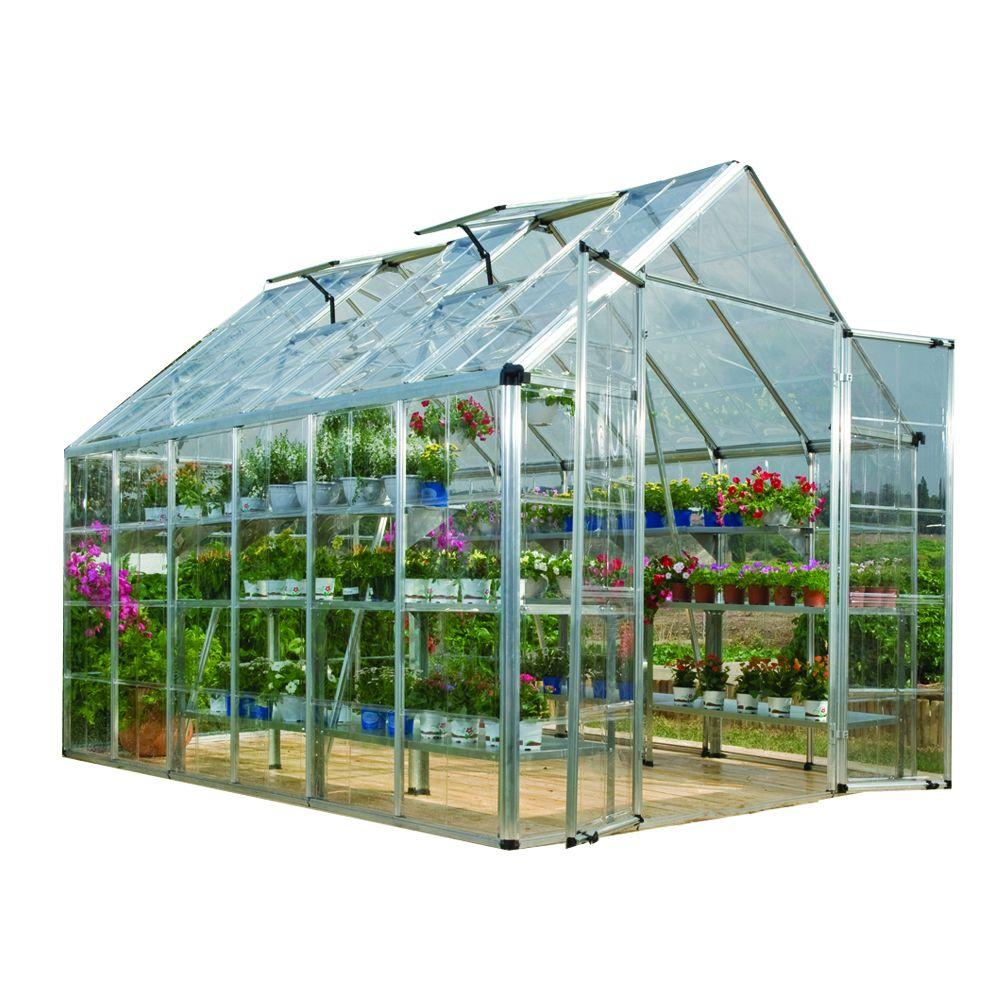 Snap and Grow 8 ft. x 12 ft. Silver Polycarbonate Greenhouse
