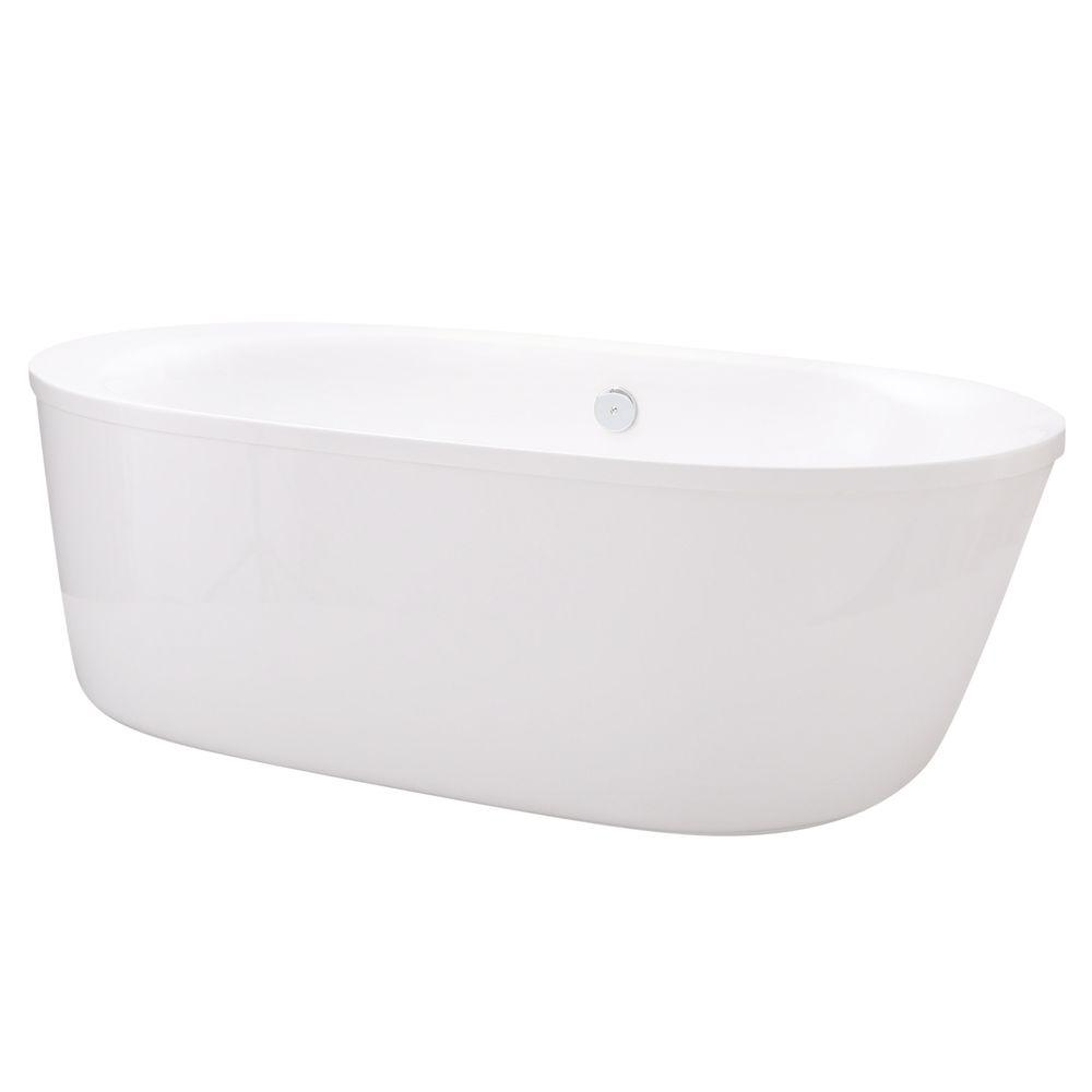Schon Logan 5.9 ft. Center Drain Freestanding Bathtub in Glossy ...