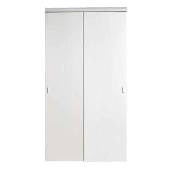 60 in. x 80 in. Smooth Flush Solid Core White MDF Interior Closet Sliding Door with Matching Trim