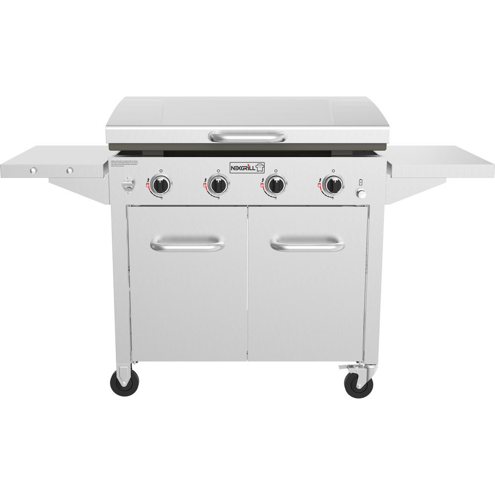 Nexgrill 4-Burner Propane Gas Grill in Stainless Steel with Griddle Top