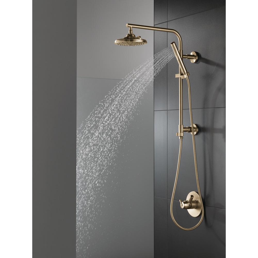 Trinsic 1-Spray 1.2 in. Single Wall Mount Handheld Shower Head in Champagne Bronze