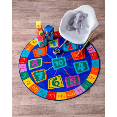 Number Circles Playmat Blue 8 ft. x 8 ft. Round Rug