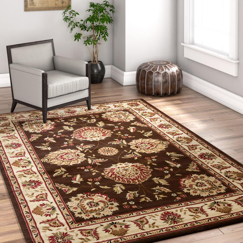 Well Woven Timeless Abbasi Brown Beige 8 ft. x 11 ft. French Country  Traditional Area Rug