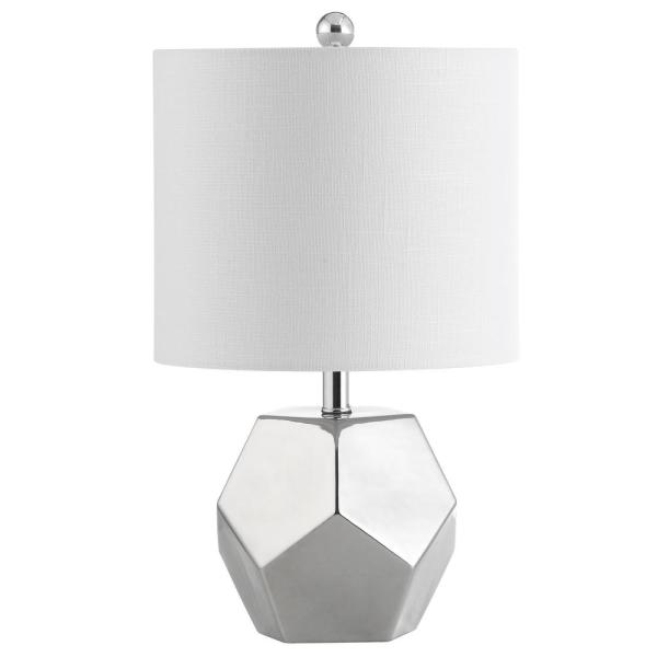Hanton 17.5 in. Silver Plated Table Lamp with Off-White Shade
