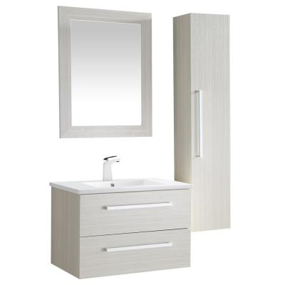 Conques 30 in. W x 20 in. H Bath Vanity in Rich White with Ceramic Vanity Top in White with White Basin and Mirror
