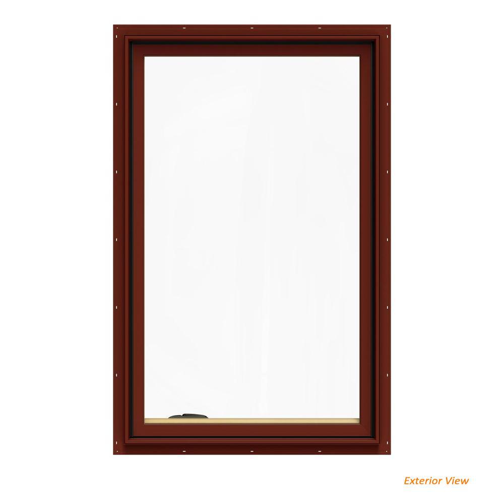 JELD-WEN 30.75 in. x 48.75 in. W-2500 Series Red Painted Clad Wood Left-Handed Casement Window with BetterVue Mesh Screen