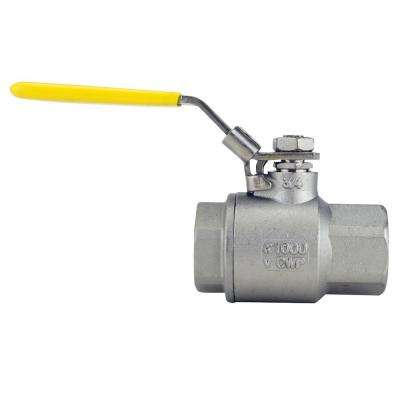 3/4 in. Stainless Steel FNPT x FNPT Full-Port Ball Valve With Latch Lock Lever