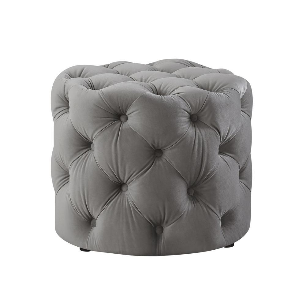 Marianna Grey Velvet Tufted Allover Upholstered Round Ottoman